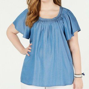 Style & Co. Denim Pleated Top Plus Size 0X NWT